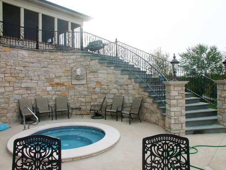 Winding stairs lead to a private outdoor pool and spa. #vintage #luxury #home #house #architecture #design #dreamhome