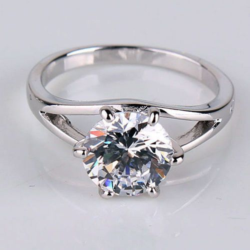 2.0CT Perfect Round Diamond Cut Russian Lab Diamond 18K White Gold Engagement Ring Size 5, 6, 7, 8, 9