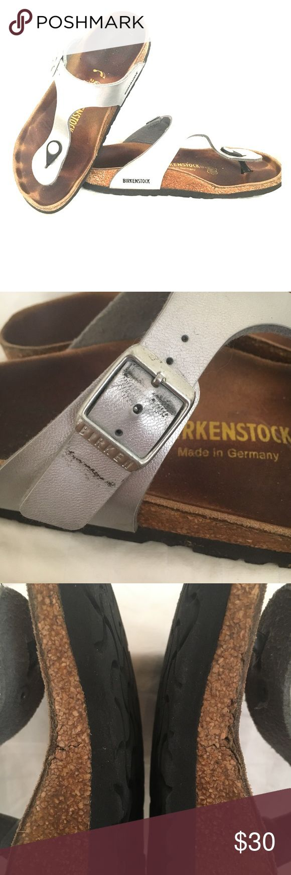 Silver Birkenstock Gizeh Size 36 Silver Birkenstock Gizeh Sandals size 36 narrow.  Treat your feet to the most comfortable sandals!  Please note all details of condition. Birkenstock Shoes Sandals
