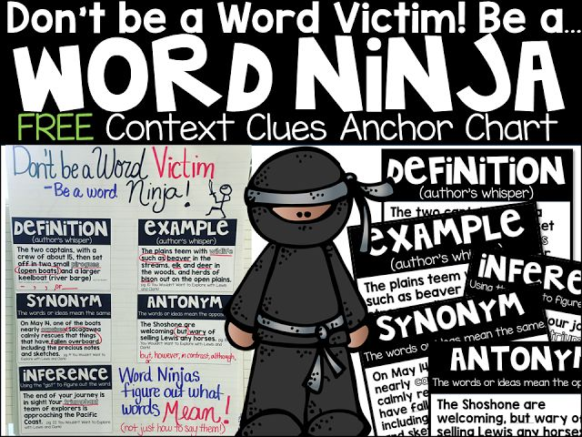 Don't Be a Word Victim: Using Context Clues Effectively Free anchor chart and lesson idea