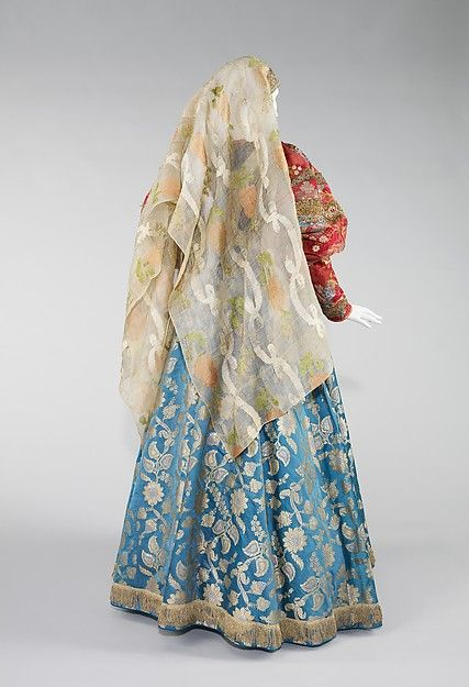 Ensemble (image 4 - Back with fatas) | Russian | 19th century | silk, metal, cotton | Brooklyn Museum Costume Collection at The Metropolitan Museum of Art | Accession Number: 2009.300.2322a–c