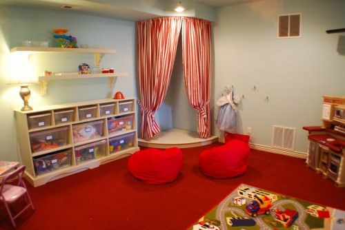 Brilliant Kids Playroom Ideas in Home: Dashing Red Gray Interior Color Wooden
