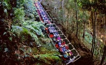 SCENIC WORLD BLUE MOUNTAINS - KATOOMBA.   The Cableway descends smoothly into the ancient rainforest of the World Heritage listed Blue Mountains. The Scenic Railway is the world's steepest incline railway, descending 415 metres down the escarpment at a maximum grade of 52 degrees.