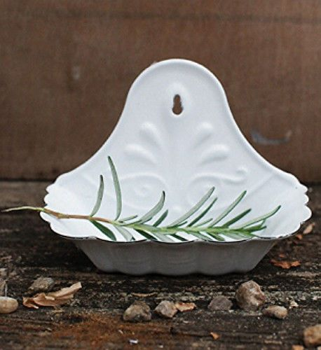New French Country Farmhouse Chic Vintage WHITE Enamelware Soap Dish Holder #Country