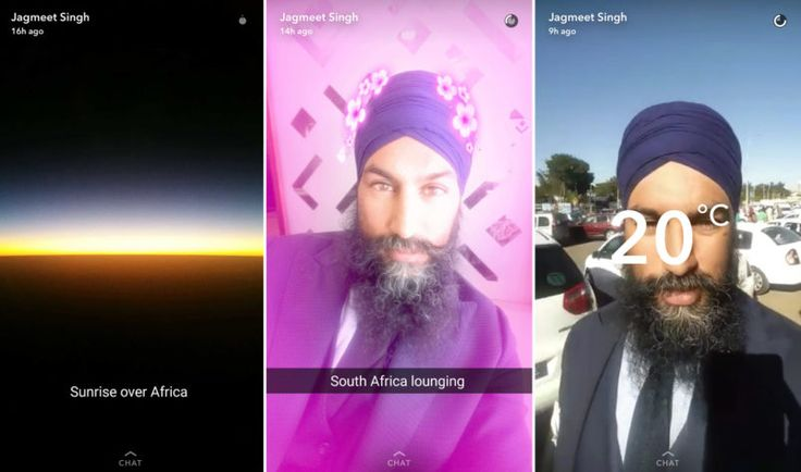 Jagmeet not just has snapchat account, he actually uses it. He created his snapchat account way before the NDP race for personal use. Not like many politicians have staffers manage their profiles, Singh appears to do it all himself.