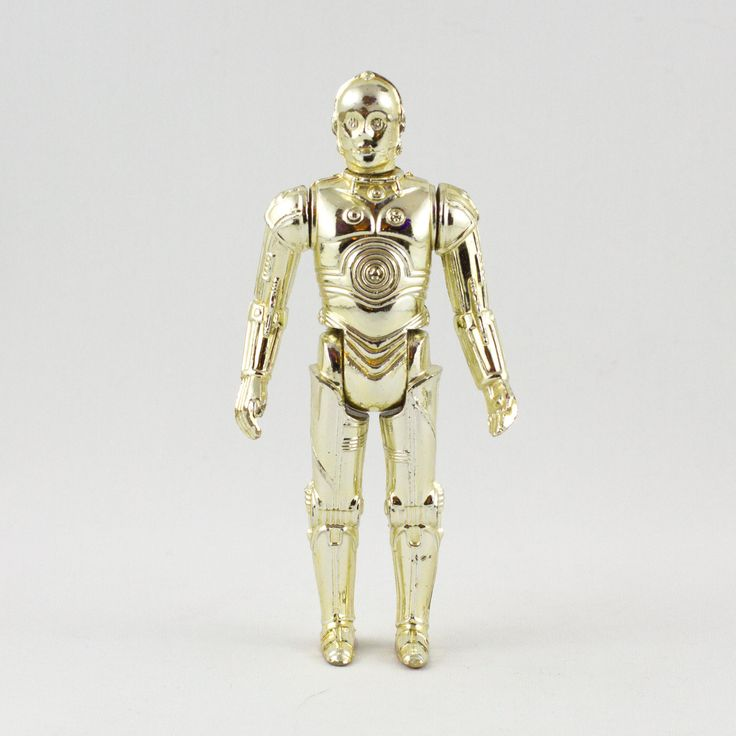 See-Threepio (C-3PO), This vintage Kenner Star Wars See-Threepio (C-3PO) action figure is in great condition. The figure has retained much of its golden shine, although it is not as bright as it once was. The limbs are loose and the figure is quite limited in its range of poses.