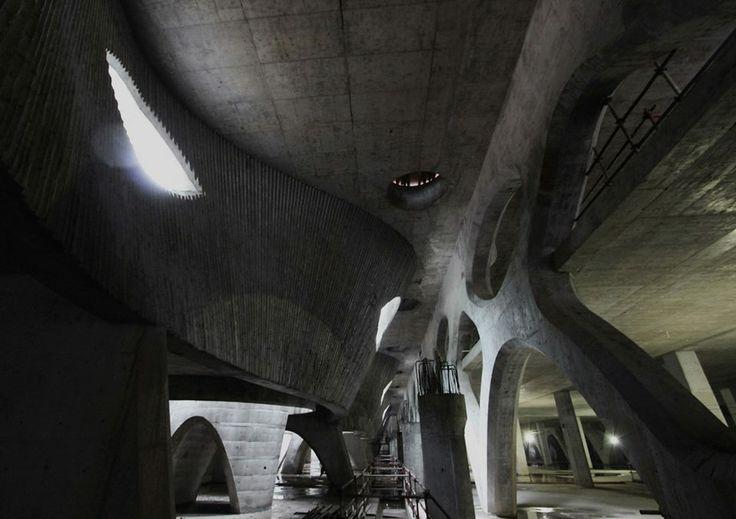 Basement of the office wing, Marisfrolg fashion head quarters #structure #concrete #space #basement
