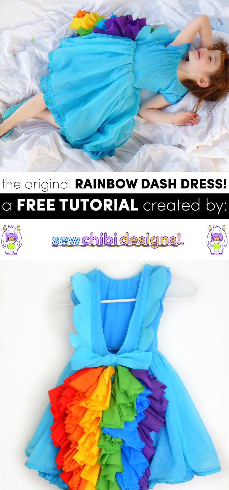 Got a little girl who LOVES My Little Pony? Obsessed with Rainbow Dash, Twilight, Fluttershy, Applejack, Rarity, or Pinkie Pie? With this FREE WING PATTERN AND TUTORIAL I'll walk you through, step-by-step, on how to MAKE YOUR OWN! This is the original Rainbow Dash Dress Tutorial but with new fresh look and easy to follow images! Change the tail colors to match your kiddo's favorite pony! Click here to pop on over to the newly redesigned SEW CHIBI DESIGNS now!!!