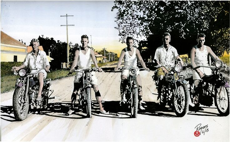 """""""Five Bikers - 1930"""". A pen and watercolour artwork depicting five young guys on their Indians? I love the fact there are no helmets and three of them are wearing singlets...ahh the good old days of motorcycling. Artwork is for sale."""