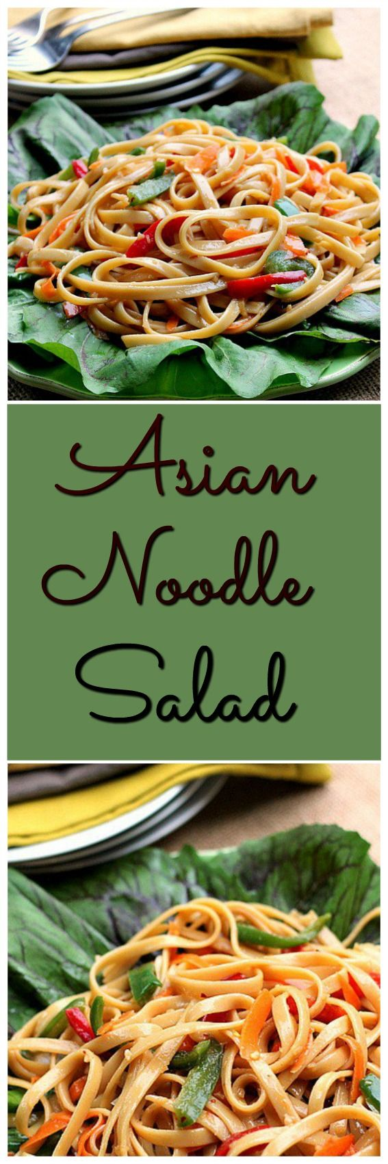 Asian Noodle Salad...The noodles in this delicious Asian Noodle Salad make it hardy, so much so it could be eaten as a meatless meal, add grilled meat and make it a satisfying dinner.