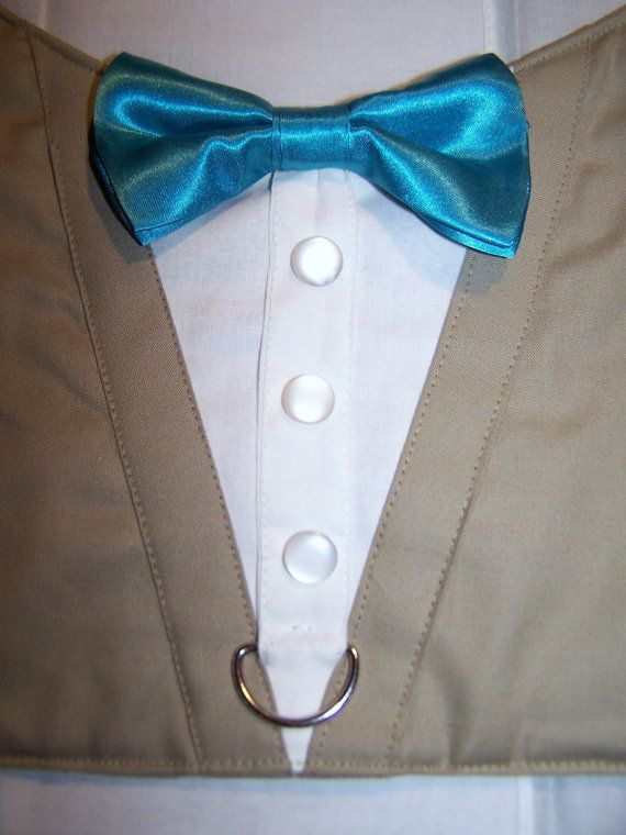 TUXEDO Dog Harness Velcro Tan with Teal Bow Tie by RuffusNRuffles
