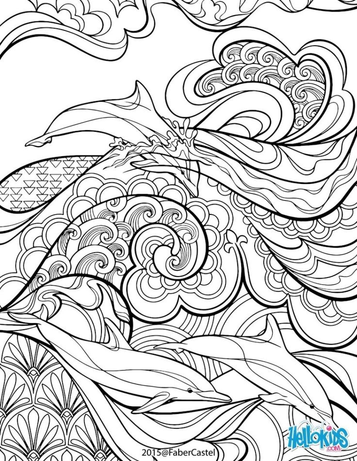 Abstract Dolphin Coloring Pages : Hard coloring pages of intricate designs for adults