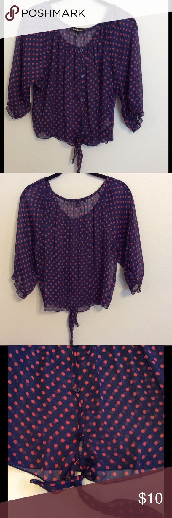 "Sheer peasant top.  $6 with bundle Navy and pink polka dot.  Elbow length (16"") sleeves with gentle elastic to keep them at the length most comfortable for you.  Slip over blouse with decorative buttons down the front and self tie. HeartSoul Tops Blouses"