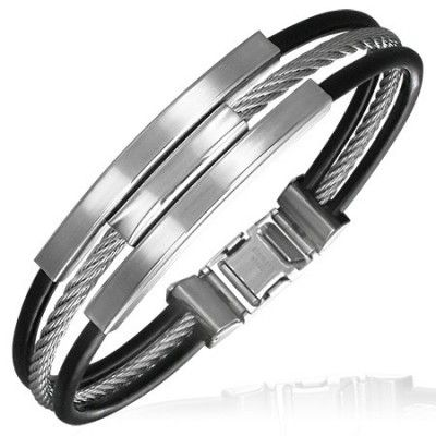 A cool & modern design bangle designed for men in black rubber & stainless steel. An unusual bangle that will really stand out on your wrist when you wear it as something different.