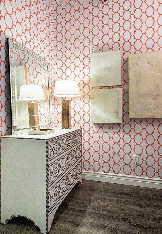 Dazzling Entryway With Spoonflower Wallpaper