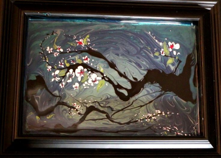How to Paint TREE BLOSSOMS using NAIL POLISH (Abstract Technique)