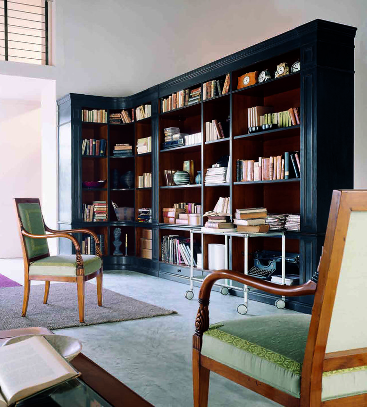 Libreria_Library Poltrona Impero in ciliegio_Empire Style armchair in cerry wood