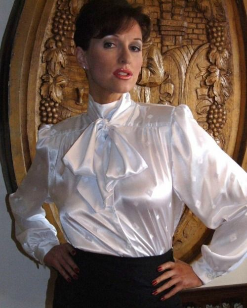 Womens White Satin Blouse 116