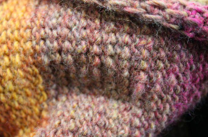Quick Crochet Cowl Tunisian Simple Stitch - Rear View