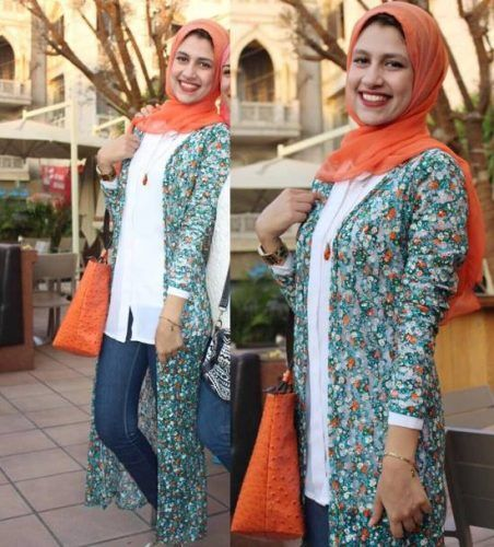 long printed cardigan hijab look- College Hijab Outfits by Egyptian Fashionista http://www.justtrendygirls.com/college-hijab-outfits-by-egyptian-fashionista/