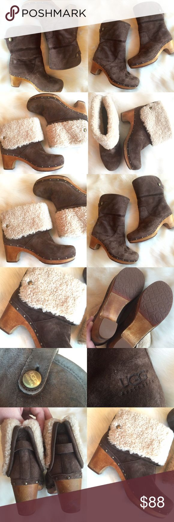 UGG Boots Leather Clog Boots, Studded Lynnea, 8 Great pre-loved condition! Some marks on the wood base from wear. Wear these UGG BOOTS two ways, as pictured! Size 8. UGG Shoes