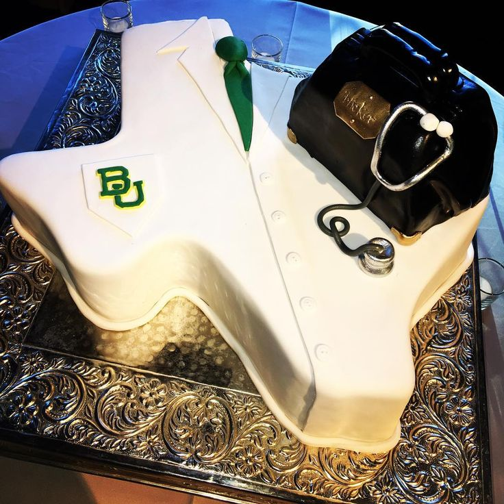 Baylor University/doctor-themed and Texas-shaped groom's cake. Love it!!