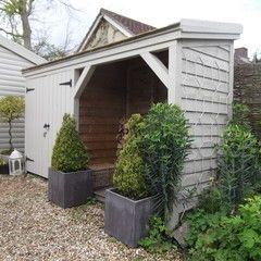 shed for wood, sport equipment, tools - narrow so doesn't use much space
