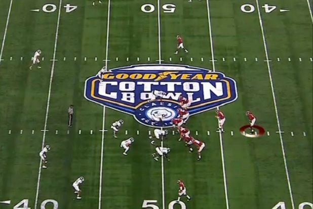 The college football playoffs on ESPN will no doubt be making a resolution to improve their ratings.  Both the Orange Bowl and the Cotton Bowl were down by double digits from last season's college football semifinals while airing on New Years Eve .  The Orange Bowl, which saw Clemson take on Oklahoma