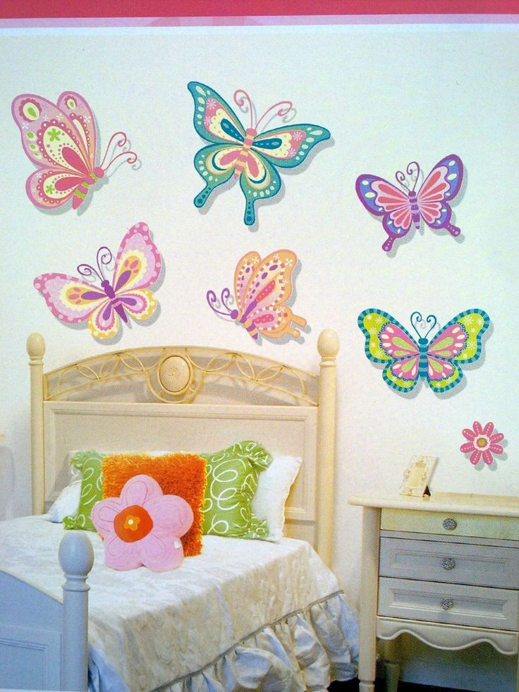 Nice Kids Room, Colorful Butterfly Wall Art Sticker Decor Decals Girly Kids Room  Design Idea Blue Part 27