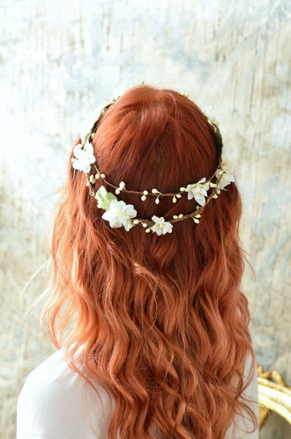 Rustic flower crown ivory bridal crown boho by gardensofwhimsy