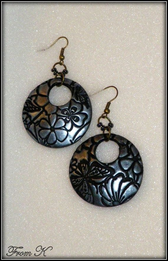 Dangle Disk Earrings Round Disk Earrings Polymer Clay by FromK