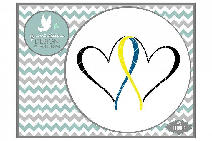 Down Syndrome Awareness Ribbon with Hearts LL188B  SVG DXF EPS AI JPG PNG from DesignBundles.net