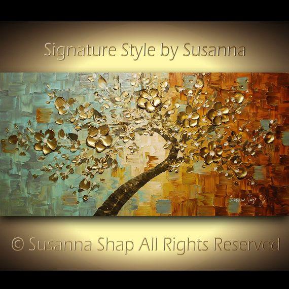 ORIGINAL oro cerezo árbol Bonsai grande pared por ModernHouseArt