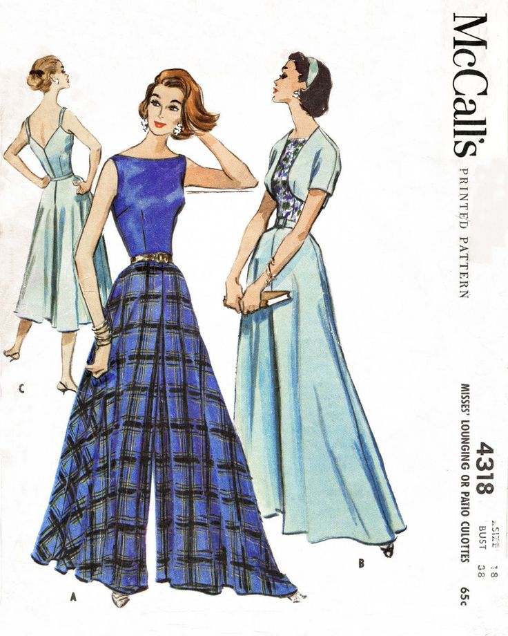 McCall's 4318 1950s palazzo pants jumpsuit vintage sewing pattern