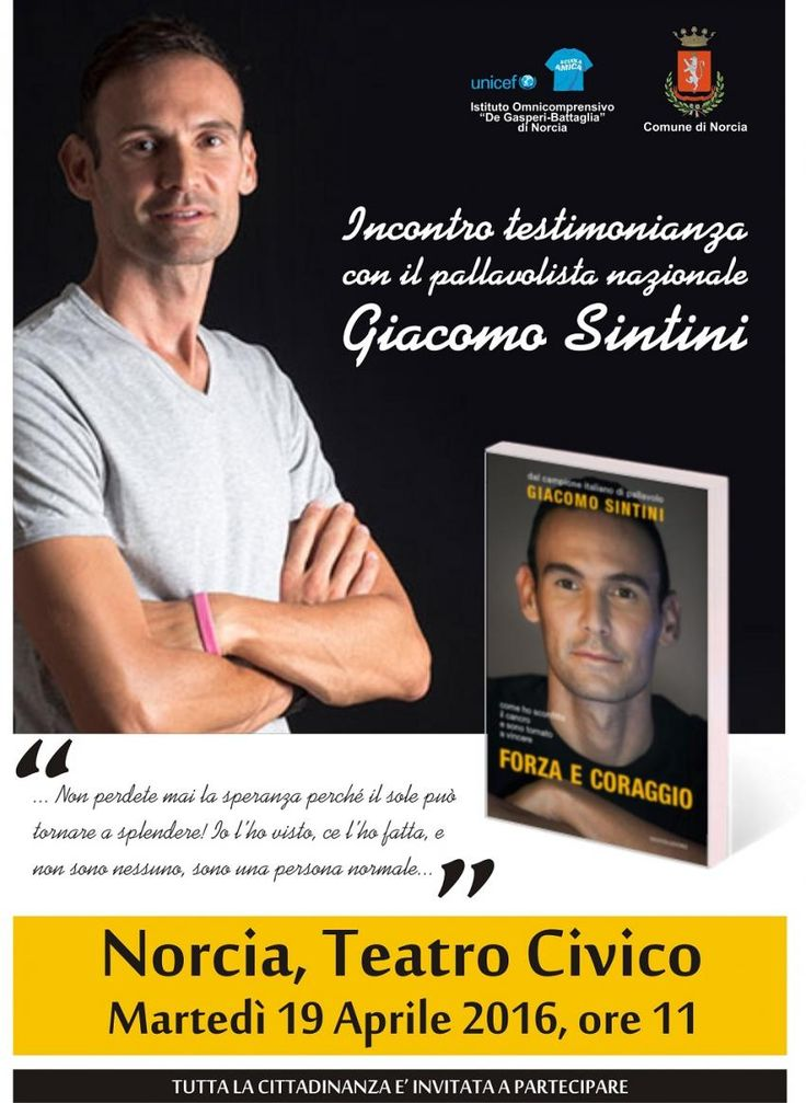 Il 19 aprile a Norcia a teatro l'incontro-testimonianza con il pallavolista nazionale Giacomo Sintini