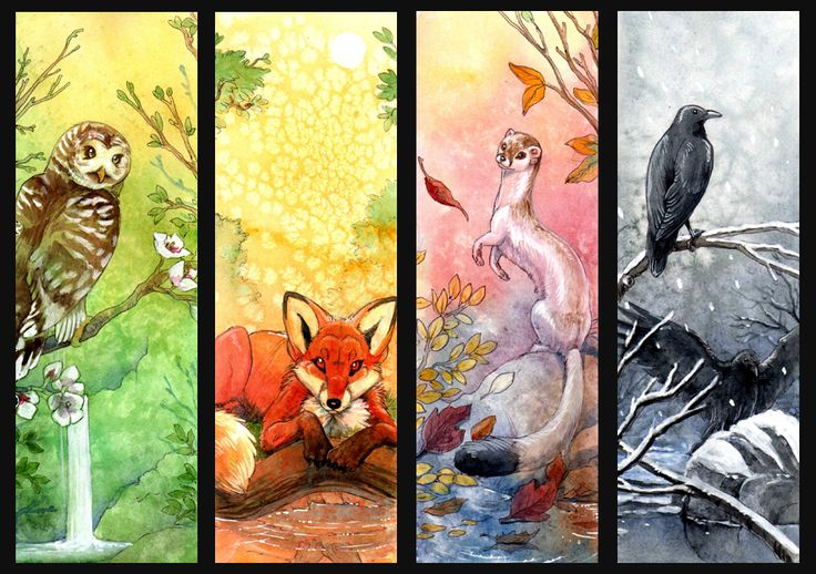 'Four Seasons' by hibbary (Hillary Luetkemeyer) on deviantART -- watercolor bookmarks
