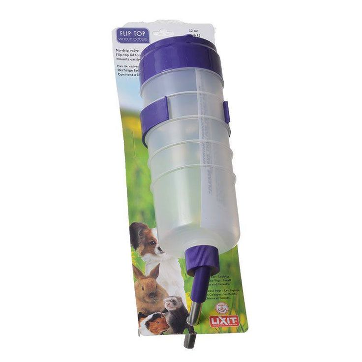 Lixit Pet Quick Lock Flip Water Tank for pets is a water bottle which can be filled while it is still inside your pet's cage. Stainless steel valve helps prevents drips and leaks. It includes a nut and bolt hanger which allows an easy fill of the pet's water without removing the bottle from the cage. Wide, top-fill, no-drip water bottle fits any wire cage and features stainless steel valve and instant height adjustment. Durable plastic construction with nut and bolt lock/hanger.