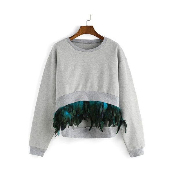 SheIn(sheinside) Grey Round Neck Feather Embellished Dip Hem... (355 ZAR) ❤ liked on Polyvore featuring tops, hoodies, sweatshirts, grey, color block sweatshirt, embellished sweatshirt, long sleeve pullover, pullover sweatshirts and long sleeve sweatshirt