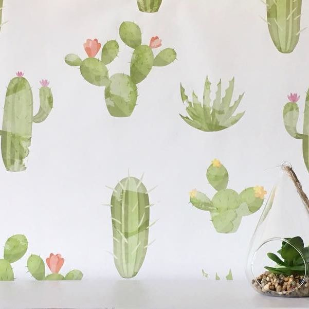 Peel and stick Watercolour Cactus wallpaper #wallpaper #interiorinspo #instadecor #wallpaperdecor #removablewallpaper #selfadhesivewallpaper #kidswallpaper #nurseryinspo #kidsdecor #cactusdecor #cactus #cacti
