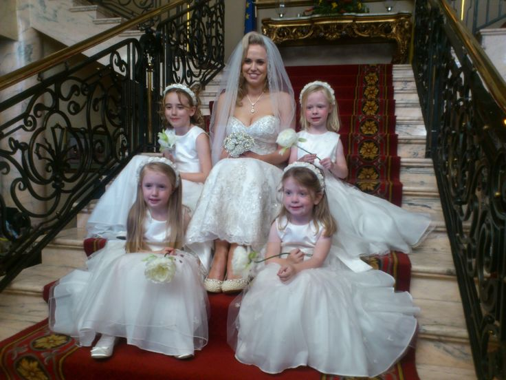 The flower girls with hand made wands