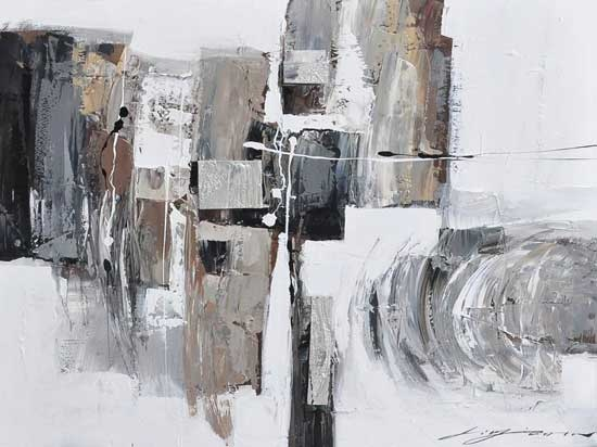 "Abstract Grey + White Oil Painting 47"" x 47"" ($249)"
