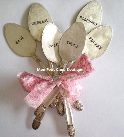 Italian Herb Garden Markers - 6 PC Set - Upcycled Vintage Silverplated Spoon