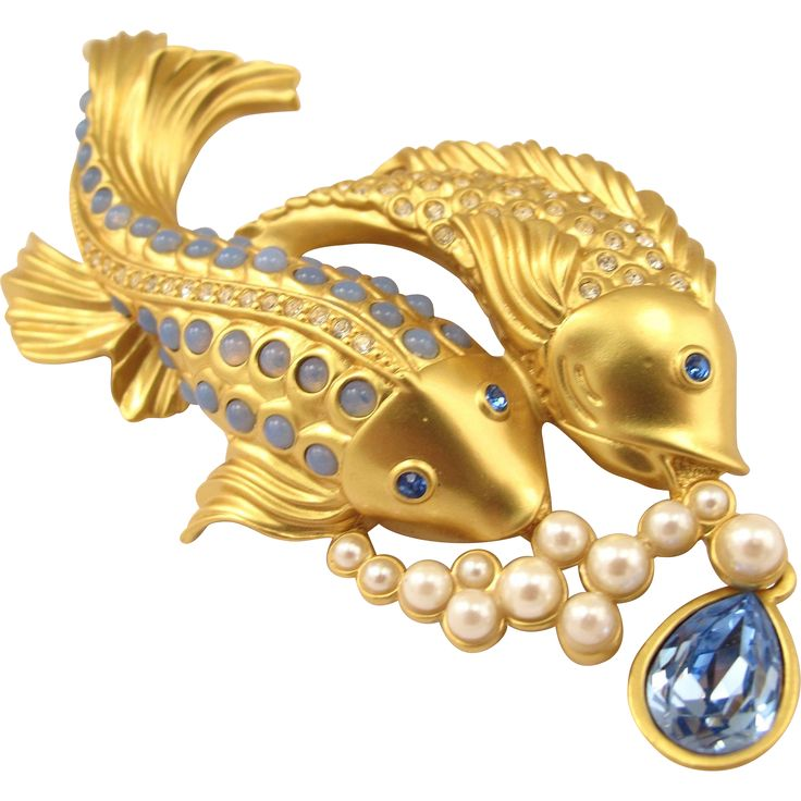 "30% off during Ruby Lane Red Tag Sale!  Elizabeth Taylor for Avon ""Sea Shimmer"" Koi Fish Brooch"