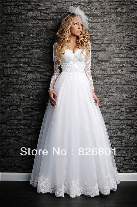 Vestido De Noiva 2014 Lace Long Sleeve  Wedding Dress Sexy Lace Ball Gown Wedding Dress 2014 Vestido De Casamento