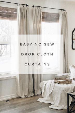 Modern Farmhouse style diy drop cloth curtains.