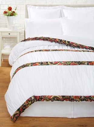 68% OFF India Rose Kathryn Duvet Cover, White/Midnight, Queen