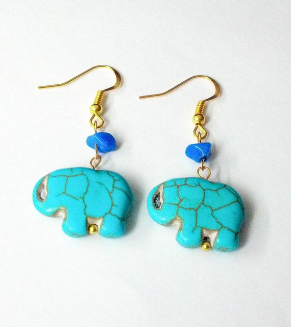 Gold elephant earrings Turquoise earrings Turquoise by CatiShop