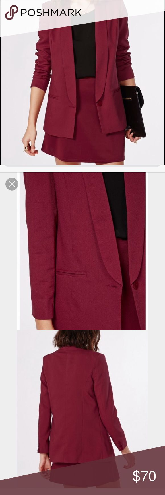 MISSGUIDED eilise long line blazer burgundy 💕💕classy long blazer. In a great condition . Measurements provided upon request . 📦📦ask for bundle am discounts . Open to reasonable offers . Missguided Jackets & Coats Blazers