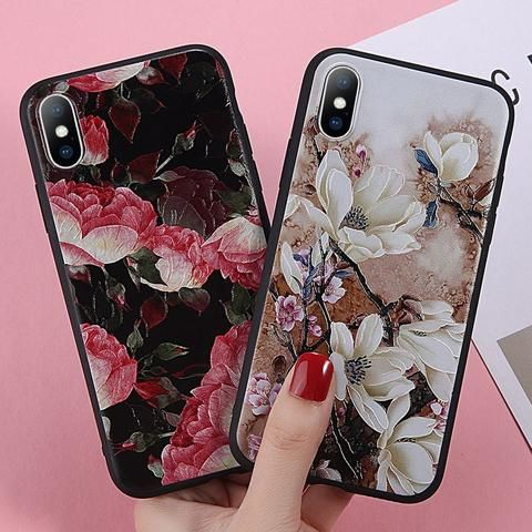 USLION Rose Flower Case For iPhone XS XR XS Max X TPU Silicon Phone Cases For iP…