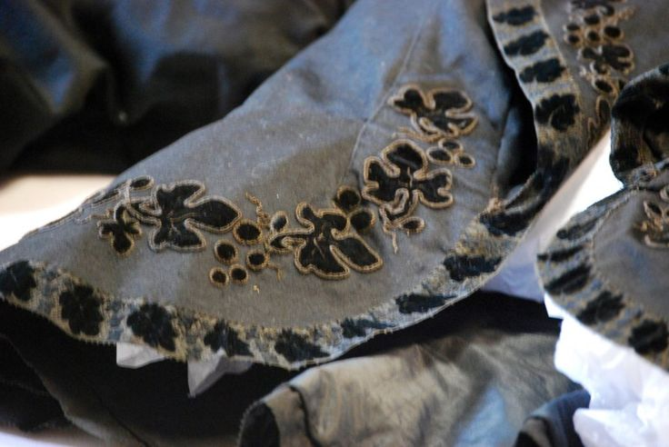 1855, owned by Meriva Carpenter, a resident of Homer, New York (also the birthplace of Amelia Bloomer). Silk applique and embroidered leaf detail on the cotton jacket. From the collection of the Cortland County Historical Society Clothes as Historical Sources: What Bloomers Reveal about the Women Who Wore Them - American Historical Association